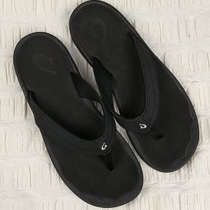 OluKai Ohana Flip Flop Black Women's Size 8